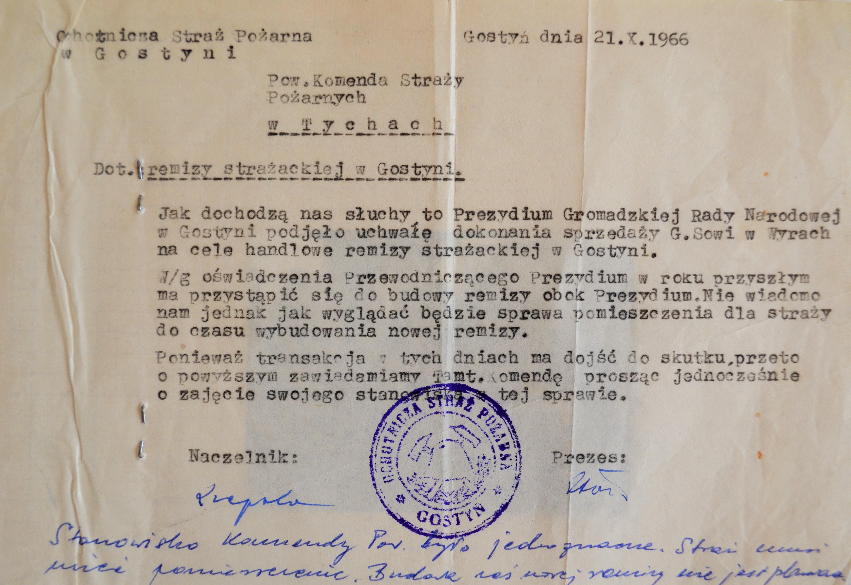 Zdjęcie pisma gostyńskich strażaków do Powiatowego Komendanta Straży Pożarnej w Tychach